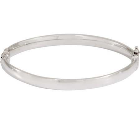 Sterling Solid Oval Hinged Bangle by Silver Style 21.0g