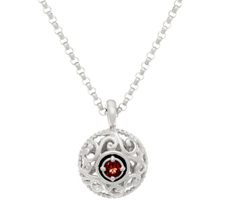 """As Is"" Carolyn Pollack Sterl. Birthstone Pendant with Chain"