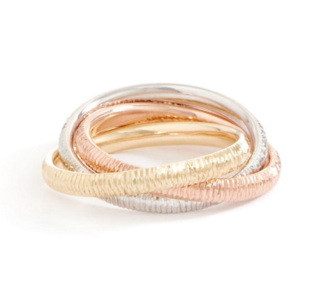 Italian Gold Tri-color Rolling Rings, 14K Gold