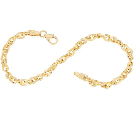 """As Is"" Italian Gold 7-1/4"" French Rope Bracelet 14K Gold, 2.2g"