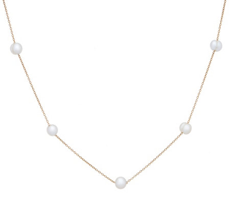 Honora Cultured Pearl Station 18 Necklace Stainless Steel
