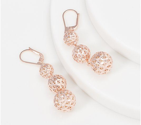 Sterling Silver Diamond Cut Lace Bead Drop Earrings by Silver Style