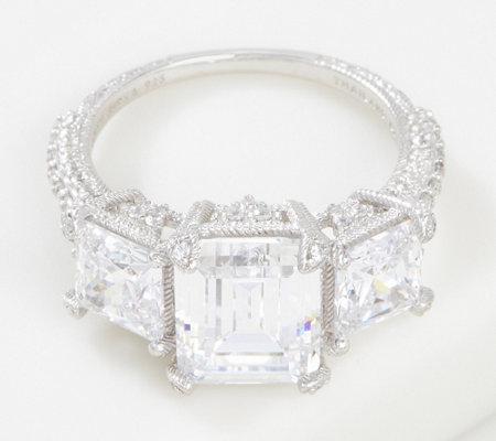 Judith Ripka Sterling Silver Triple Stone Diamonique Ring