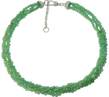 Judith Ripka Sterling Torsade with Aventurine Beads Necklace