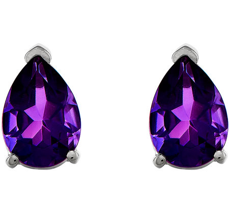 14K White Gold Pear-Shaped Gemstone Post Earrings