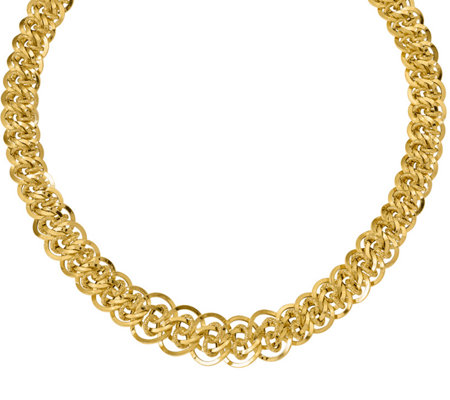 Italian Gold Polished & Textured Double Link  Necklace 14K, 2