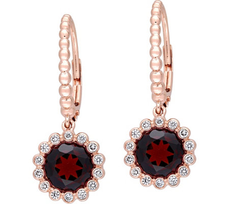 14K 3.20 cttw Garnet & 1/4 cttw Diamond Earrings