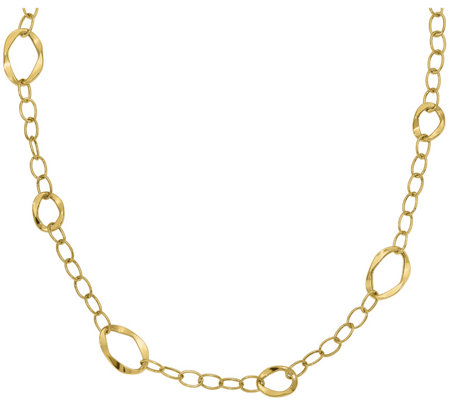 14K Yellow Gold Oval & Round Link Station Necklace, 4.2g
