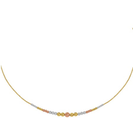 14K Tri-Color Beaded Wire Necklace, 4.3g