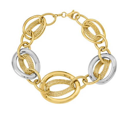 14K Two-Tone Oblong & Oval Link Bracelet, 13.5g