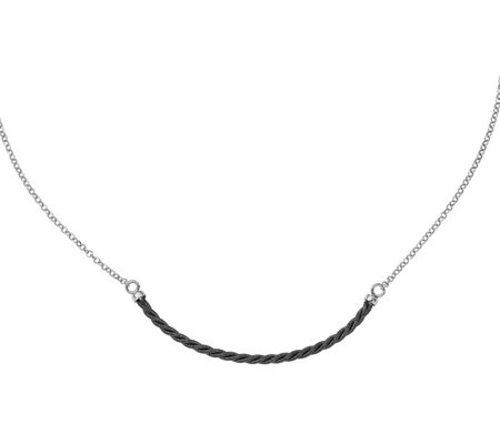 Italian Silver & RutheniumTwisted Necklace Sterling, 4.6g