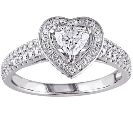 Affinity 14K White Gold 1.00 cttw Heart Halo Diamond Ring