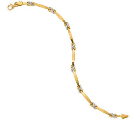 "14K Gold 7-1/4"" Two-Tone X Station Bracelet, 4.1g"