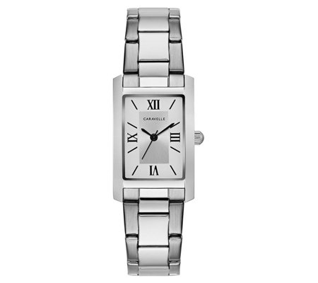 Caravelle Women's Classic Stainless Rectangle Bracelet Watch