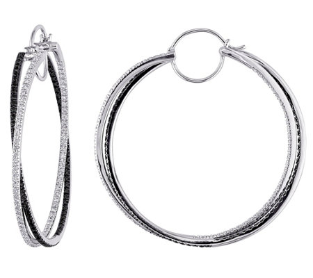 Affinity 14K 1.50 cttw Black & White Diamond Hoop Earrings