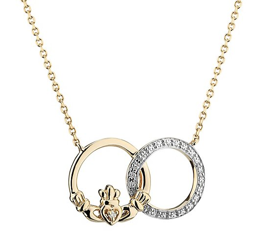 Solvar 14K Diamond Accent Claddagh Circle Necklace