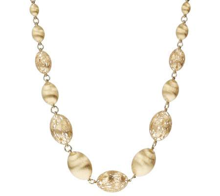 "Arte d'Oro 18"" Graduated Oval Bead Necklace, 18K Gold 36.0g"