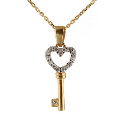 Adi Paz 14K Gold Diamond Accent Key Pendant w/Chain