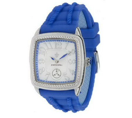 Judith Ripka Silicone and Stainless Steel Adjustable Watch