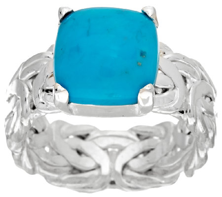 Sleeping Beauty Turquoise Byzantine Sterling Silver Ring