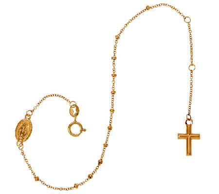 14K Yellow Gold Rosary Design Bracelet, 1.2g