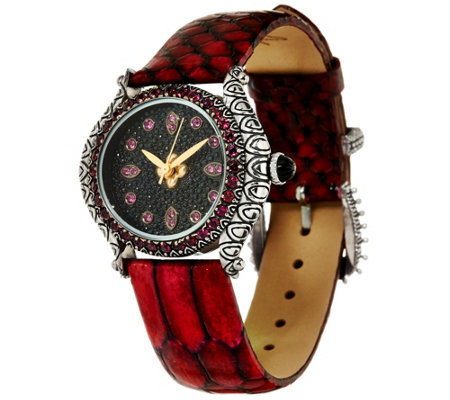 Barbara Bixby Stainless Steel Pave Face & Leather Watch