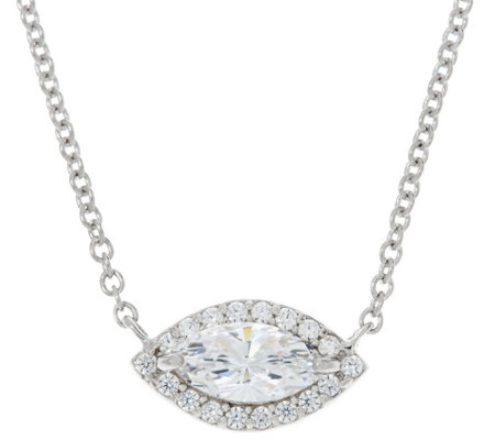 Diamonique Marquise Cut Halo Necklace, Sterling