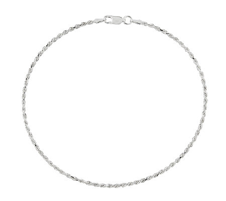 Sterling Diamond-Cut Rope Chain Ankle Bracelet