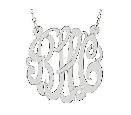 "Sterling 7/8"" Personalized Script Monogram Necklace"