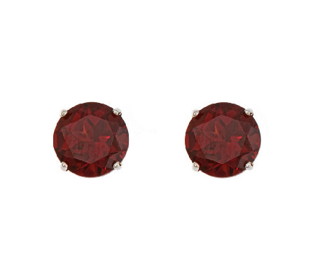 5mm Round Semi-Precious Gemstone Stud Earrings,14K White Gold