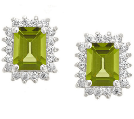 Premier Emerald Cut 1.60cttw Peridot Earrings,14K