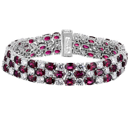 Judith Ripka Sterling 3-Row Diamonique & GarnetBracelet