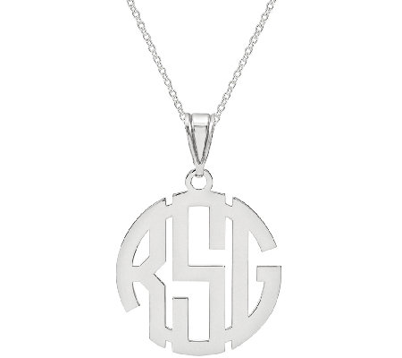 "Sterling Circle Monogram Pendant w/18"" Chain"