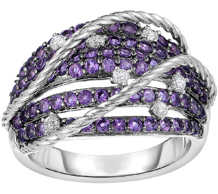 Amethyst & White Zircon Sterling Design Ring