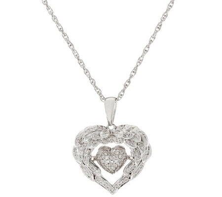Dancing Angel Wing Heart Pendant on Chain, Sterling by Affinity