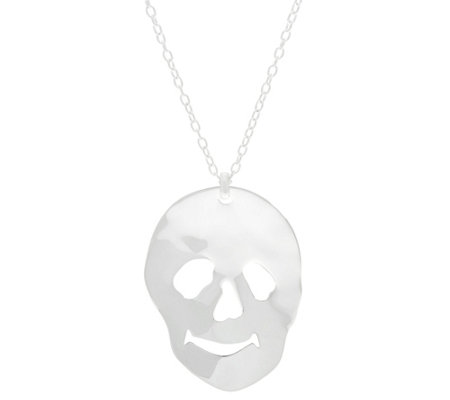 RLM Sterling Silver Skull Pendant Necklace, 25.1g