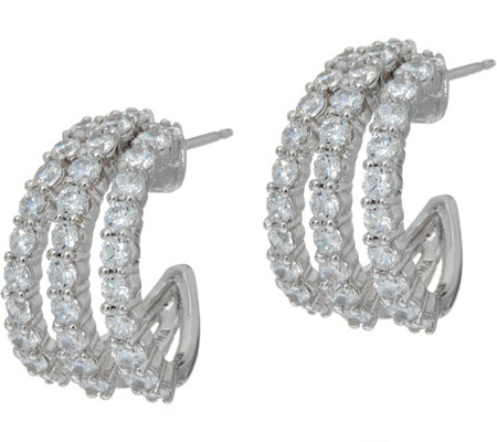 Diamonique Triple Row Split Hoop Earrings, Sterling