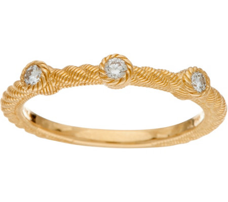 Judith Ripka 14K Gold 1/7 cttw Bezel Set Diamond Ring