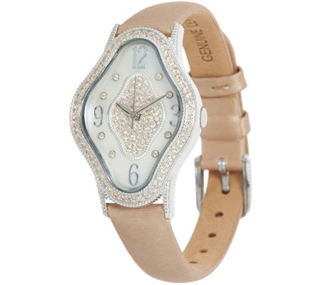 Judith Ripka Stainless Steel Leather Palm Beach Watch