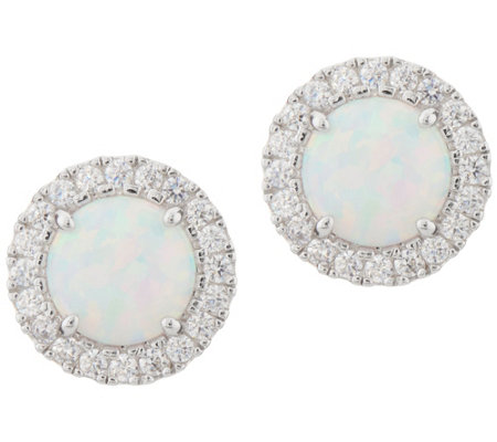 Diamonique and Synthetic Opal Stud Earrings, Sterling