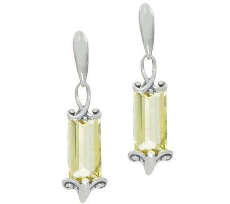 Carolyn Pollack Sterling Silver Baguette Quartz Earrings, 17.50 cttw