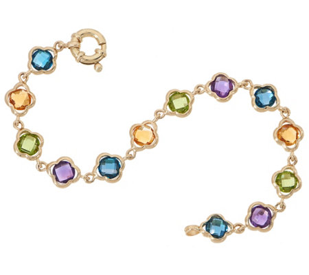 "14K Gold and Gemstone 7-1/4"" Bracelet, 12.40 cttw"