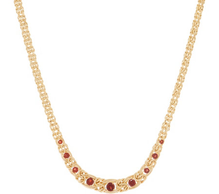 "14K Gold and Gemstone 20"" Graduated Byzantine Necklace, 12.4g"