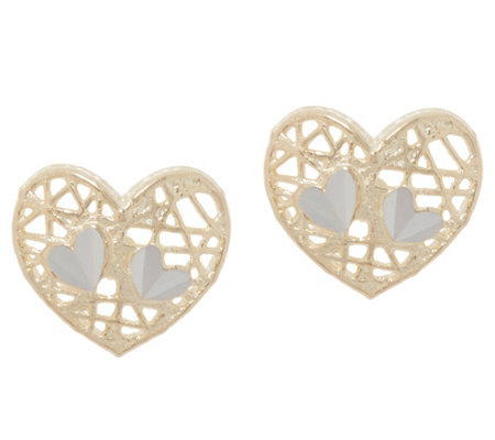 Italian Gold Motif Stud Earrings, 14K Gold