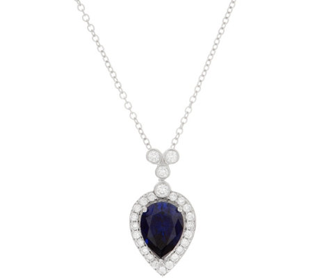 Diamonique Royal Collection Pear Cut Pendant, Sterl
