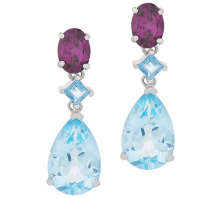 Rhodolite and Blue Topaz Drop Earrings, 8.15 cttw, Sterling Silver