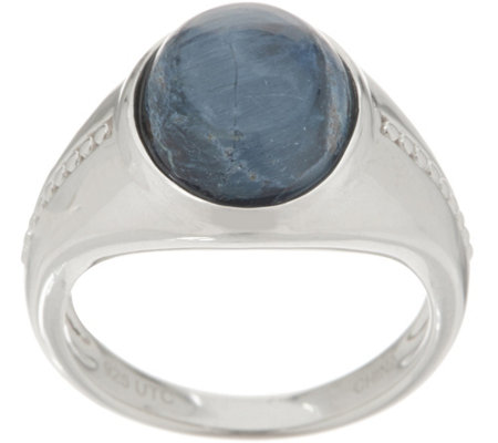 Oval Opaque Gemstone Cabochon Ring, Sterling Silver