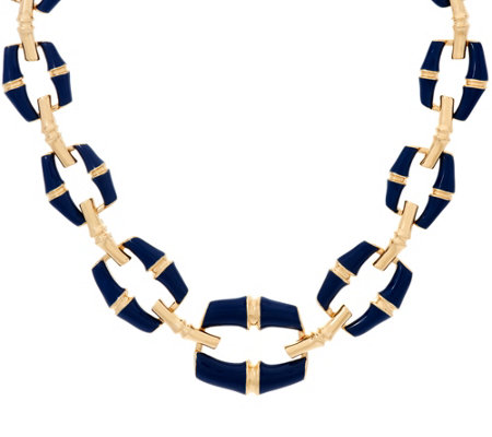 """As Is"" C. Wonder 16-3/4"" Bold Graduated Enamel Bamboo Link Necklace"