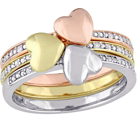 3-Piece Diamond Accent Heart Stack Ring, 14K Gold
