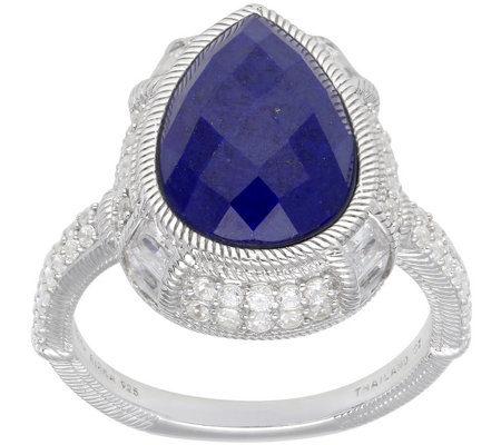 Judith Ripka Sterling Pear-Shaped Lapis and Diamonique Ring